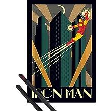 Póster + Soporte: Iron Man Póster (91x61 cm) Marvel Comics, Art Deco Y 1 Lote De 2 Varillas Negras 1art1®