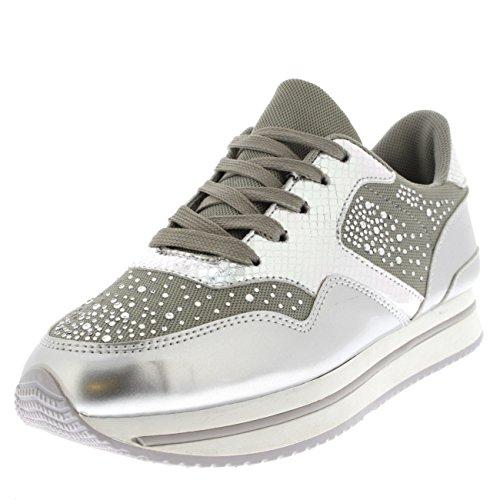 Donna moda diamante pompe leggero confortevole festival formatori - argento/bianco - uk6/eu39 - bf0020