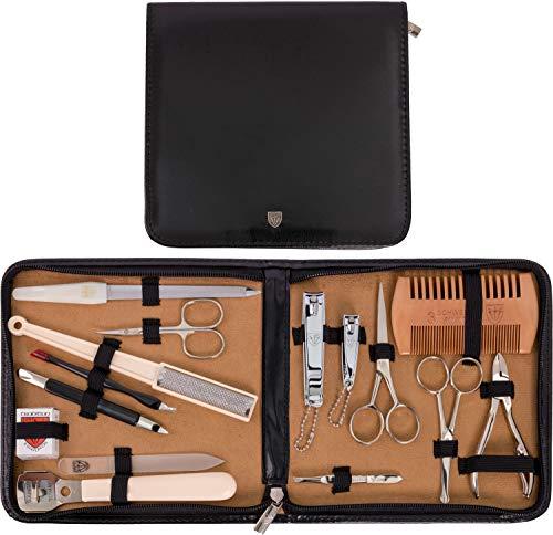 DREI SCHWERTER - Kombiniertes 15-teiliges Herrenpflegese 'ALL IN' für die tägliche Bartpflege, Maniküre und Pediküre mit handgefertigten Stahlinstrumenten - Kunst Leder Etui - Markenqualität (5533) -