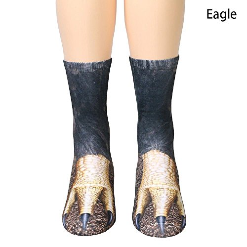 Socken Unisex Erwachsene Tier Pfote Crew Socken Sublimated 3D Print Füße Socken (Adler) (Adler Füße)