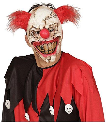 Maske Killer Clown mit Haaren Halloween Kostüm Verkleidung Perücke