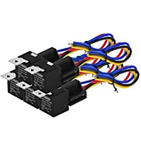 Eyourlife Auto Relays Car Relay Harness Kit with Sockets Wires 30/40 AMP 5 Pin SPDT Relay 12V 40A Mounting