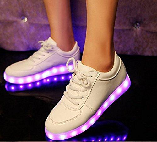 [Présents:petite serviette]JUNGLEST® Unisexe Hommes Femmes 7 couleurs de charge USB avec LED lumineux Couple Casual Sport Chaus Blanc - blanc