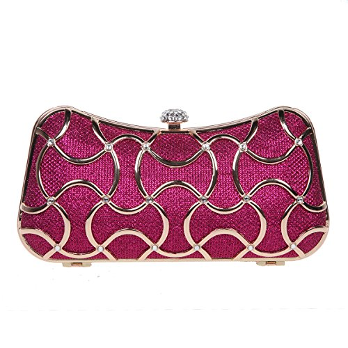 Bonjanvye Metal Clutch Evening Bags for Women Clutch With Handle Gold Fuchsia