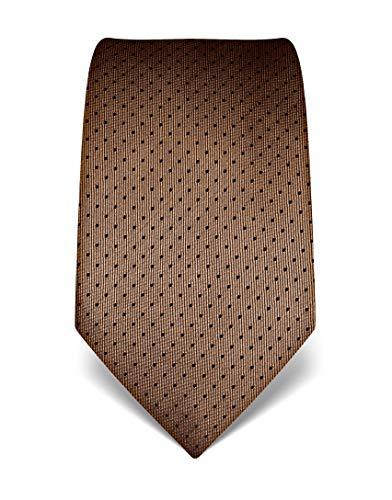 Vincenzo Boretti Herren Krawatte reine Seide gepunktet edel Männer-Design zum Hemd mit Anzug für Business Hochzeit 8 cm schmal/breit braun