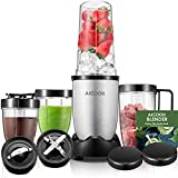 Blender, Aicook Blender Smoothie, 900W Mixeur Multifonction pour Milkshake et Smoothies, Mixeur Smoothie avec 4 Bouteilles Portables et 2 Lames en Acier Inoxydable, Sans BPA, Argent