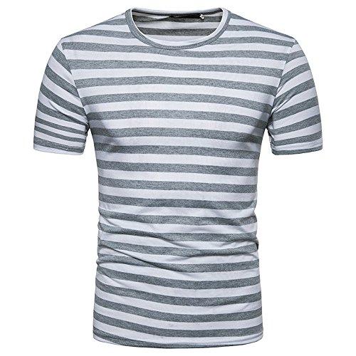 Dragon868 Herren Lässiges Streifen-Rundhals-T-Shirt