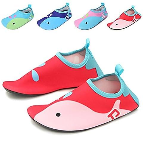 UMmaid Kids Water Shoes Swim Shoes Mutifunctional Quick Drying Barefoot Aqua Socks for Beach Pool Red 5.5-6 M UK