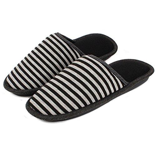 Chaussons DWW pantoufles Simple hiver hommes et femmes modèles en coton rayé rembourré chaud anti-dérapant chaussures Noir