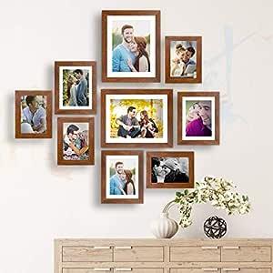 Art street - Wall Essential Photo Frame Set of 9 Brown Wall Photo Frame (Mix Size) 4 Units 5x7, 3 Units 6x8, 2 Units 8x10