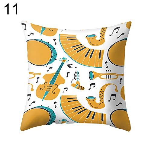 puran Jazz Musiktrommel Cello Tuba Kissenhülle Deko Kissenbezug für Schlafzimmer Wohnzimmer 11#