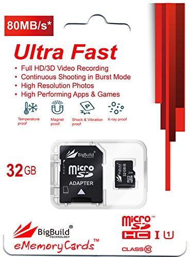 BigBuild Technology 32GB Ultra schnelle 80MB/s Klasse 10 MicroSD Speicherkarte für Denver TAQ-10182 Tablet, SD Adapter ist im Lieferumfang enthalten