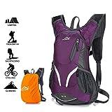 Hwjianfeng Radrucksack, wasserdichter atmungsaktiver Fahrradrucksack mit Regenschutz, 15L Leichter Skirucksack, Sporttaschen zum Radfahren Wandern Camping Bergsteigen Skifahren Trekking (Purple)