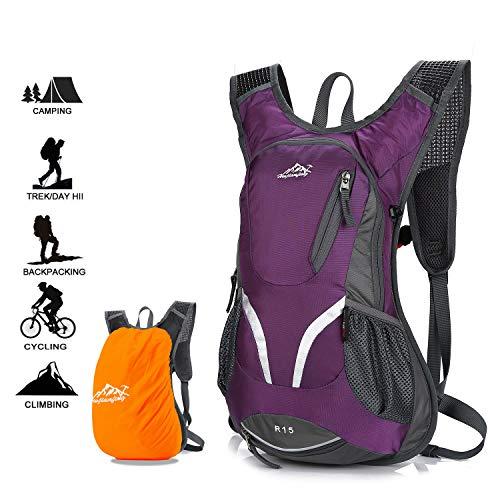 Zaino per bici, zaino da ciclismo impermeabile e traspirante con copertura antipioggia, zaino da sci leggero da 15 litri, borse sportive per bicicletta escursionismo campeggio alpinismo sci trekking (purple)