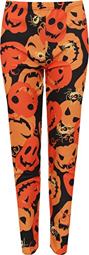 WearAll - Damen Plus Kürbis Krepp Druck Strecke Halloween Kostüm Damen Leggings - Orange - 52-54