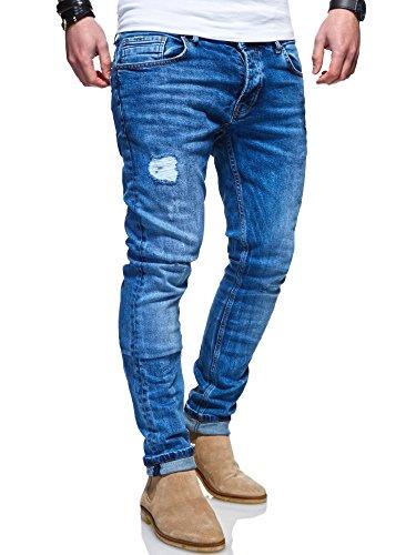 MT Styles Herren Jeans Slim Fit Hose JN-100 [Blau, W34/L32]
