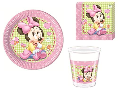 ouse Partygeschirr - Partyset Becher Teller Servietten (Minnie Mouse-pappteller)