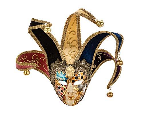 Farbige Aquarell (Kleine original venezianische Deko-Maske mit Jokergesicht, handgefertigt, Dekor aus mehrfarbigem Aquarell und farbigen Samtspitzen. Made In Italy)