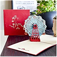 SUPRERHOUNG Tarjeta de felicitación 3D Pop-up Tarjeta Hecha a Mano Tarjeta de Regalo Tarjeta de Ferris Wheel (Azul)