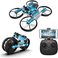 Multi-functional Folding RC Drone with Camera- RC Quad copter Drone- Folding Aircraft -Deformation Motorcycle for Kids, Adults & Beginners