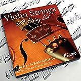 Cordes Adagio Pro pour violon 4/4classique, kit de cordes de violon argentées / Lot avec bouts en boule pour accordage en concert