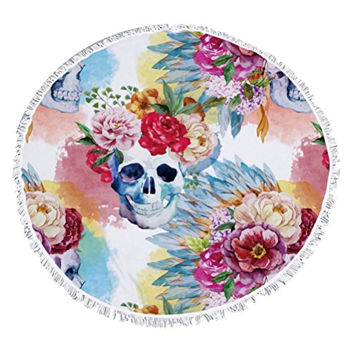 Super Weich und saugstark Floral Skull bedruckt rund Strand//Bad Handtuch, Decke 2 (Handtuch Cabana Beach)