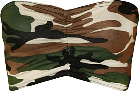Womens Print Strapless Stretch Bra Crop Top Ladies Bandeau Boob Tube - Camouflage - 12-14