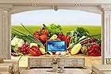BZDHWWH 3D Geprägte Tapete Schöne Auswahl An Gemüse Auf Der Tafel Essen Tapete Restaurant Esszimmer Küche Große Wandbilder Für Weihnachten,90 Cm×60 Cm