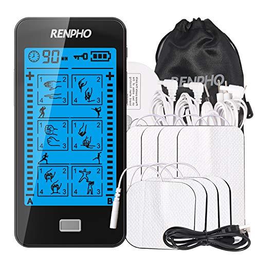 RENPHO TENS Gerät mit Touchscreen, Digitales TENS EMS Massage Reizstromgerät mit 24 Modi, 2 Kanäle Muskelstimulation, 8 Elektroden Pads zur Schmerzlinderung, Muskelstimulation und Entspannung