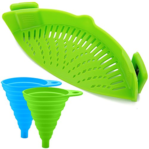 Silikon-Snap-Sieb mit 2 Zusammenklappbaren Trichtern, FineGood Hands-Free Clip-on Hitzebeständiger Colander Pour-Auslauf für Pasta Gemüse-Nudeln Topfschale Pan - Green (Saft-auslauf)