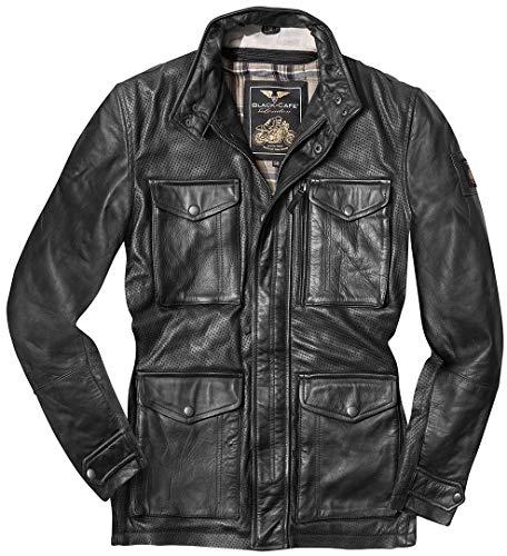 Black-Cafe London Classic Motorrad Lederjacke 58 Schwarz