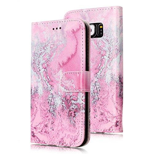 Samsung Galaxy S6 Custoida in Pelle Portafoglio,Samsung Galaxy S6 Cover Pu Wallet,KunyFond Lusso Moda Marmo Dipinto Leather Flip Protective Cover con Bella Modello Cover Custodia per Samsung Galaxy S6 Acqua di mare rosa