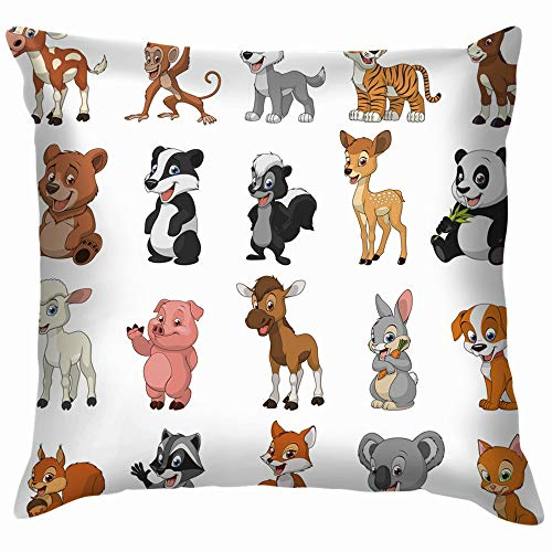 beautiful& Set Funny Exotic Animals Wildlife Animal Nature Cotton Throw Pillow Case Cushion Cover Home Office Decorative, Square 18X18 Inch