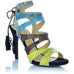 High Heels Sadnaletten Ankle Boots Pumps Abendschuhe Sandalen Fransen Shoes EUR 38 Mehrfarbig