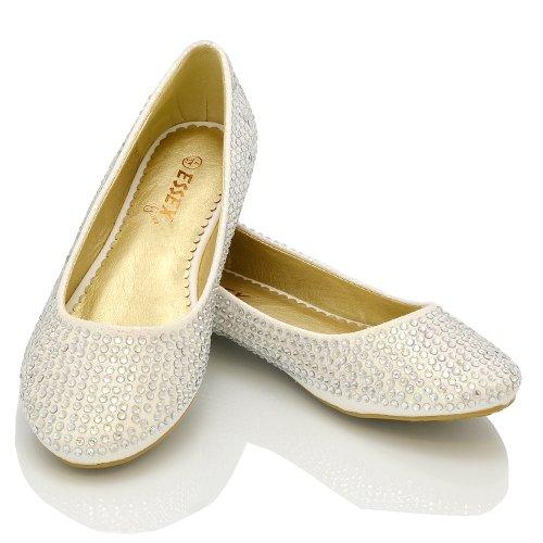 Damen Ballerinas Brautschuhe Diamant Glitzer Flache Pumps Verschiedene Größen - Sythetik, Weiß Glitzer, 6 UK - 3