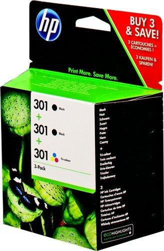 Preisvergleich Produktbild HP 301 Multipack Original Druckerpatronen (2x Schwarz, 1x Farbe) für HP Deskjet, HP ENVY, HP Photosmart