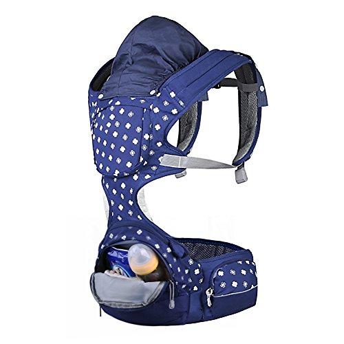 Porte-bébé Réglable Écharpe de Portage Confort Coton Sac à Dos avec le  Coussin de la Hanche 1,5 L Grand Sac de Rangement et Capuche Amovible, ... 7c02690b615