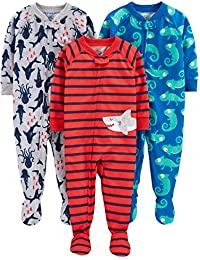 Simple Joys by Carter's 3-Pack Loose Fit Flame Resistant Polyester Jersey Footed Pajamas Bebé-Niños