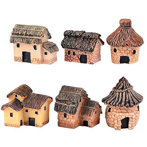 ZJW 6 Stück Miniatur Fairy Garden Steinhäuser Puppenhaus DIY Dekor Ornamente Zubehör für Outdoor, Patio, Micro Landschaft, Yard Bonsai Decals