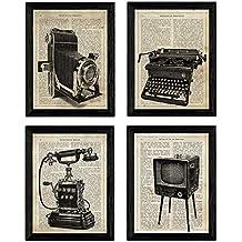 Pack de Cuatro láminas Vintage Camara de Fotos, máquina de Escribir, telefono y televisión