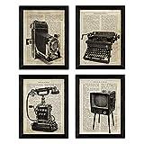 Pack de Cuatro láminas Vintage Camara de Fotos, máquina de Escribir, telefono y televisión con...