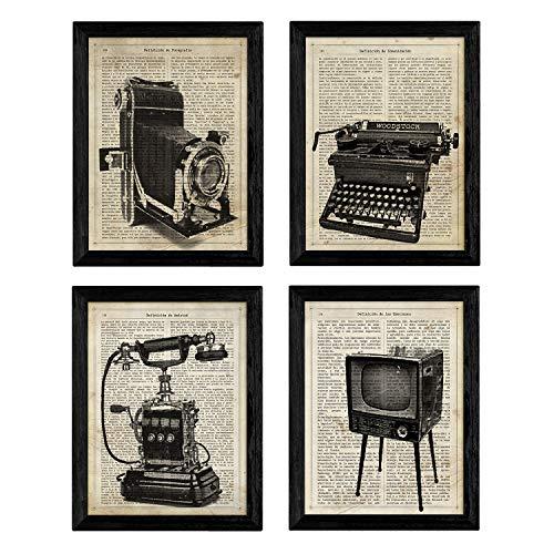Pack de Cuatro láminas Vintage Camara de Fotos, máquina de Escribir, telefono y televisión con definiciones fotografía, emociones, Amistad y comunicacion Tamaño A4 - Sin Marco. 250 Gr