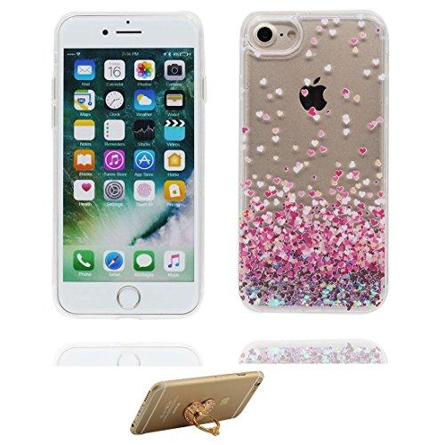 "iPhone 7 Coque, Skin Hard Clear étui iPhone 7, Design Glitter Bling Sparkles Shinny Flowing Apple iPhone 7 Case Cover 4.7"", Licorne cheval unicorn - résistant aux chocs et ring Support # 5"