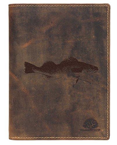 Greenburry Leder-Ausweismappe mit Fisch Motiv Forelle - Leder Dokumentenmappe für Angler Ledermappe - 16,5x1,5x12cm