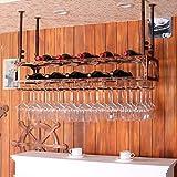 LHwine Weinregale Retro industriellen Wind bar Restaurant hängenden Tasse Rack bar Dekoriert weinregal weinglas Rahmen (größe: 60 cm * 30 cm) Weinregale (Farbe : Messing)