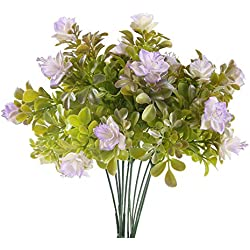 MIHOUNION 2 Pcs künstliche gefälschte Blumen Künstlicher Rhododendron Kunstblumen Kunststoff Blumen grüne Pflanzen kunstblumen Busch für Garten Balkon Topf Hochzeit Party lila