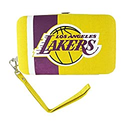 NBA Los Angeles Lakers Shell Wristlet, 3.5 x 0.5 x 6-Inch, Yellow