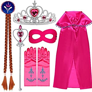 VAMEI Anna Costume Princess Dress up Accessories Set 7 Pieces Anna Princess Set Tiara Crown Wig Wand Gloves Cloak Mask Kits For Girls Rose Red