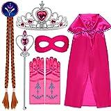 VAMEI Princesa Elsa Viste a Tiara Trenza Varita Capa Máscara Guantes Azules Conjunto Niñas Fiesta Cosplay Accesorios (Rosa roja)