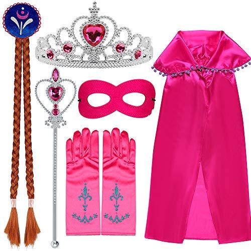 VAMEI Mädchen Prinzessin Anna Kostüm Zubehör-Set, 7 Stück -